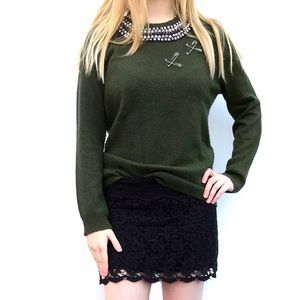 Topshop olive green knit punk crewneck sweater